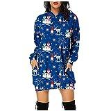 Vestido de manga larga con estampado de Navidad para mujer, azul, XL