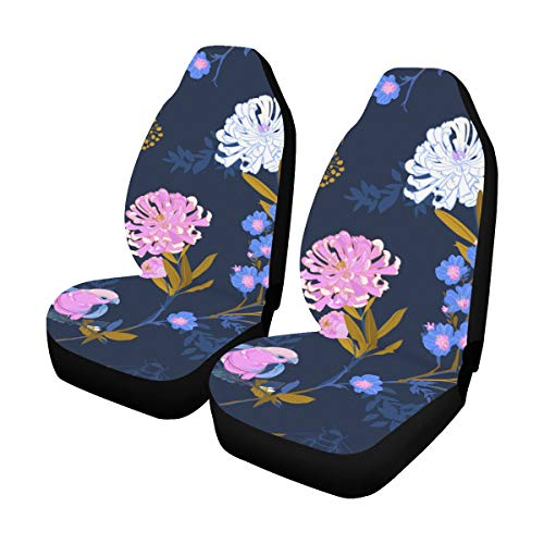Best Buy! Universal Car Seat Covers Front Seats 2pc Beautiful Softy Japanese Blooming Flowers Branch...