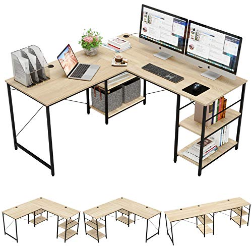 Bestier L Shaped Desk with Shelves 95.2 Inch Reversible Corner Computer Desk or 2 Person Long Table for Home Office Large Gaming Writing Storage Workstation P2 Board with 3 Cable Holes, Oak