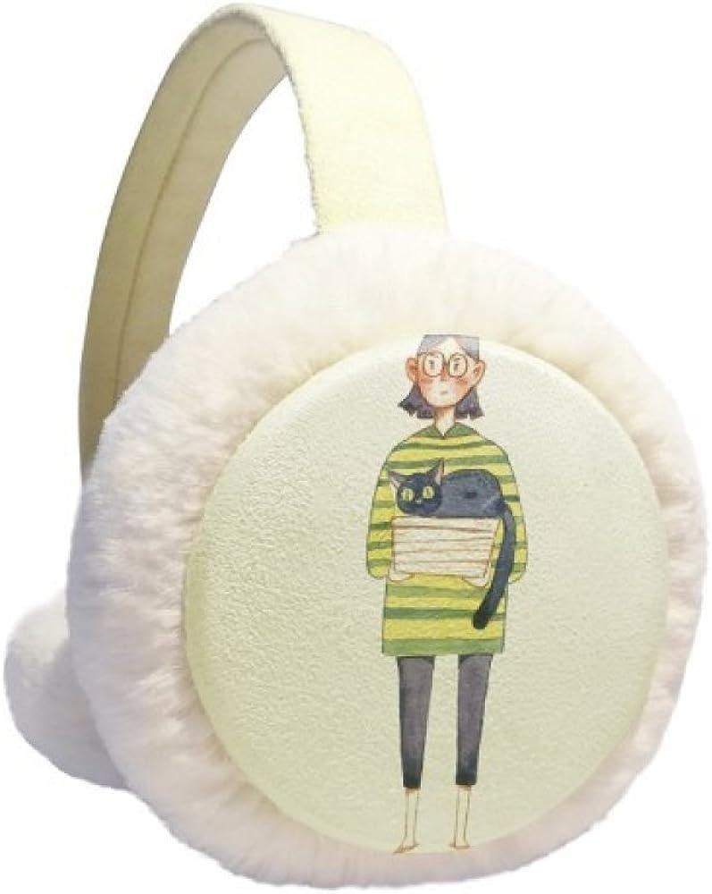 Miaoji Painting Cat Meganekko Girl Memphis Max 56% OFF Mall Winter Warmer Ear Knit Cable