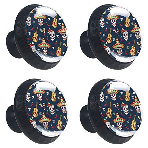 Schedels en bloemen op donkere achtergrondRonde keuken kast knoppen, dressoir lade knoppen, paddestoel badkamer kast 3.5×2.8CM/1.38×1.10IN schedels met chilipeper op een blauwe achtergrond