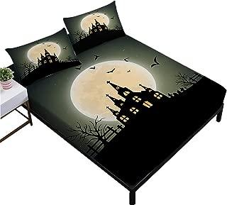 Rhap Sheets Queen Size, Cartoon Halloween Printed Queen Size Bed Sheets Set of 4 Pieces, Dark Ghost Church Halloween Decor Queen Size Fitted Sheet Set