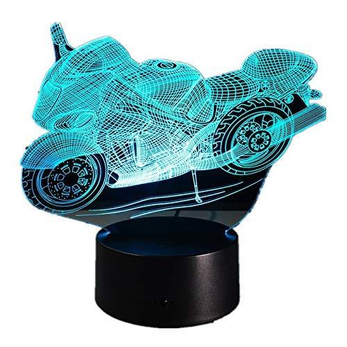 3D-illusielamp voor motorfiets, modelbouw, LED, nachtlicht, 7 kleuren, knipperlicht, schakelaar, touchscreen, slaapkamer, decoratie, verlichting voor kinderen, verjaardag, kerstcadeau
