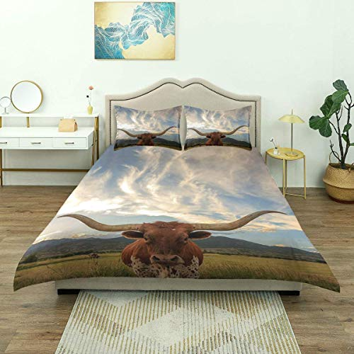 Nonun Duvet Cover,Longhorn Cow Texas Steer in Rural Utah USA Bath Curtains Farm Animals, Bedding Set Comfy Lightweight Microfiber