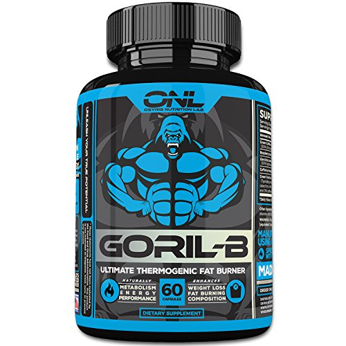 GORIL-B Thermogenic Fat Burner Pills (60 Capsules) Weight Loss Formula for Men and Women - Boost Metabolism, Increase Energy, Suppress Appetite - Diet Supplement Promotes Healthy Weight Loss