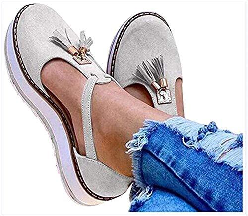 LONG-M Sandalias Planas con Punta Redonda Y Flecos para Mujer, Zapatos De Suela Gruesa con Estampado De Leopardo, Informales, para Playa,Beige,40
