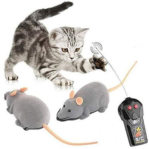 Vektenxi Katzenspielzeug Katze drahtlos simuliert Plüsch Maus Spielzeug ferngesteuertes Mausspielzeug Verfolgungsjagd Spielzeug Heimtierbedarf grau stilvoll