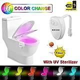 WC Luz de Noche - 2018 Nuevo Diseño 8 Colores Sensor de Movimiento luz LED Automática Inodoro Luz para Baño, Hotel, Cafe Bar, Facil de Limpia y Usar 100% Impermeable. (8 colores (USB Recargable))