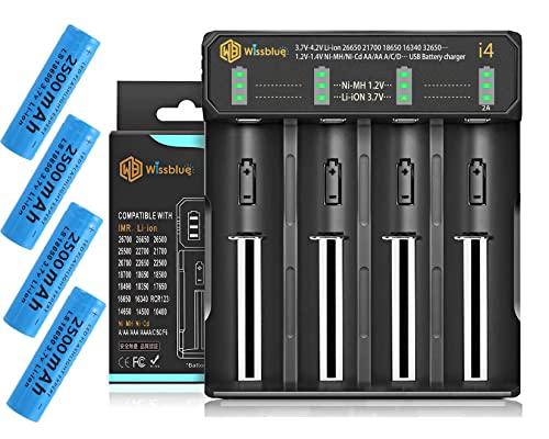 Cargador de batería 18650, con 4 pilas de litio de 2500 mAh y 3,7 V (incluye cargador) de 2 A de carga rápida de 4 ranuras, compatible con 3,7 V Li-ion de 1,2 V NI-MH/NI-CD AA AAA
