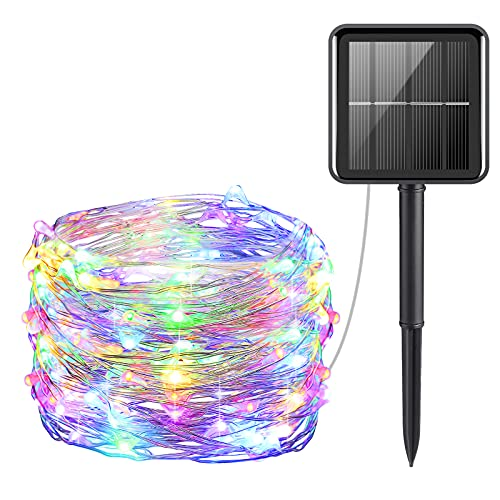 AMIR Upgraded Solar Powered String Lights, Mini 100 LED Copper Wire Lights, Fairy Lights, Indoor Outdoor Waterproof Solar Decoration Lights for Gardens, Home, Party, Halloween, Christmas (Multicolor)