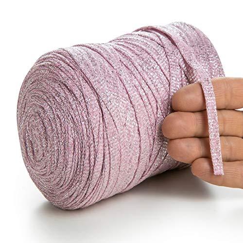 MeriWoolArt - Hilo metálico para tejer, macramé, hilo plano de lurex, grosor de 10 mm, 125 m, hilo de algodón reciclado de alta calidad con lurex, viscosa (732 rosa)