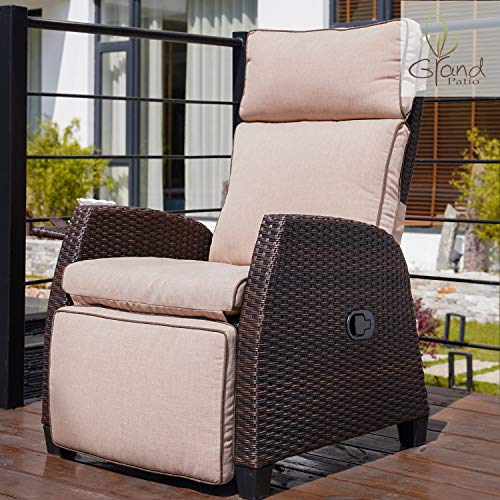 Grand patio Outdoor Patio Chairs Recliner Wicker Recliner Adjustable Angle Reclining Rocker Waterproof Thickened Cushion Relaxing for Indoor & Outdoor
