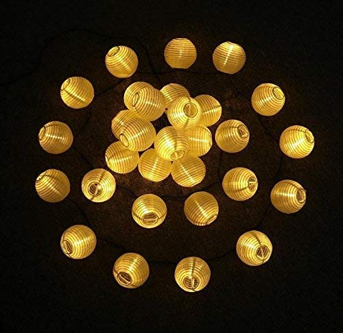 Solar String Lights Lanterns, 19.68ft 30 LED Waterproof Outdoor Solar Lights Garden Chinese Lantern, Fairy Lights with Fabric Lantern for Party Christmas Garden Yard Home Decoration (Warm White)
