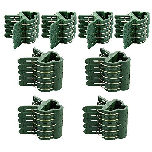 JUHONNZ Pflanzenclips,40 Stück Pflanzstab Wiederverwendbare Pflanzenstützklemmen Kunststof Pflanzen Clips pflanzenhalter für Gewächshaus Rankhilfe Tomaten 2 Größen