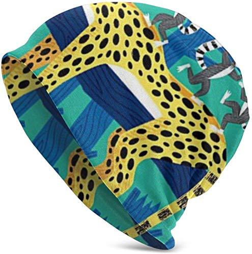 hgdfhfgd The Leopard und The Lemurs Valentine Lustiges Upgrade Hip-Adult Knit Beanie Warm gestrickt Ski Skull Cap Beanie Cap One Size für Männer Frauen Hüte, Weihnachtsmütze