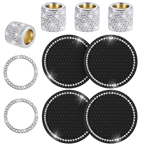10 Pieces Bling Crystal Rhinestone Car Cup Holder Coaster Insert Mat, Car Headrest Collars Rings, Bling Start Button Rings Emblem Sticker Bling Car Accessories for Car Truck Interior Decoration