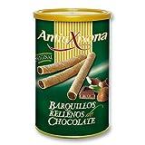 Barquillos de Chocolate, caja de 2,4 KG - Pack de latas de Barquillos (12 latas x 200 gramos) - Barquillo de galleta crujiente, relleno de intenso y cremoso chocolate. Antiu xixona Receta Original.