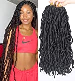 Leeven 24 Inch Long Messy Faux Locs Crochet Braids Hair 6 Packs Natural Black Distressed Faux Soft Locs Crochet Hair 21 Strands/Pack Pre-looped Goddess Nu Soft Locs Braiding Hair