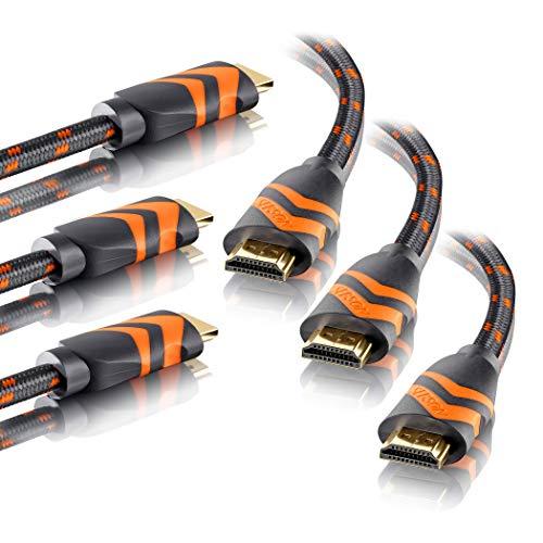 SEBSON 3x HDMI Cavo 2m 2.0b ad alta velocità con Ethernet, 4K / 60Hz Ultra HD 2160p, Full HD 1080p, 3D, HDR, ARC Audio Return, Xbox, PS4, intrecciato