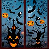 YQHbe Halloween Fenster Aufkleber, 126 Stück Halloween Deko Fensterbilder Fledermaus Spinne Kürbis Hexe Geister Fensteraufkleber für Halloween Party Dekorationen Horrible Fenster Sticker