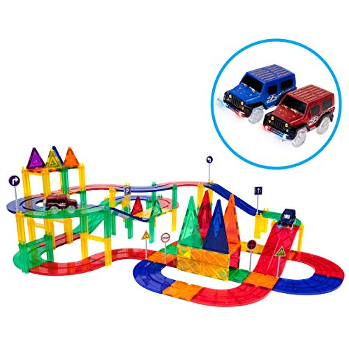 PicassoTiles 80 Piece Race Car Track Building Block Educational Toy Set Magnetic Tiles Magnet DIY Playset 2 Light Up Car STEM Learning Construction Kit Hand-Eye Coordination Fine Motor Skill Training