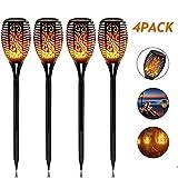 SHOUJIK Solarleuchte Garten Fackel Flammenlicht Außen Wetterfest IP65 2200mah Solarlampen Gartenleuchte mit Realistischen Flammeneffekt Automatische EIN/Aus(4 Stück)