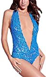 HNIWDJ Women's Clothing Sexy Perspective Lace Sex Dress Underwear Lenceria Sex Babydoll Costumes (Color : Blue, Size : S)