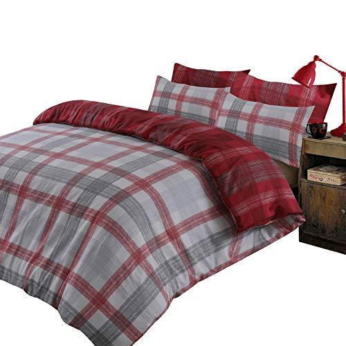 Dreamscene Boston Check Duvet Cover with Pillow Case 100% Brushed Cotton Flannelette Reversible Tartan Bedding Set, Red Grey - King