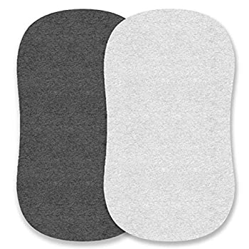 Cuddly Cubs Bassinet Sheets Set Compatible with Arms Reach Versatile Chicco Lullago Halo bassinest and Many Other Oval Rectangle Shape Bassinet Pads   100% Jersey Knit Cotton   Heather Grey
