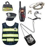 Oeasy Polizei Spielzeug, 8 Stücke Kinder Polizei Cosplay Kostüme Polizei Rollenspiel Set für Swat, FBI, Detektiv, Halloween oder Weihnachts Geschenk