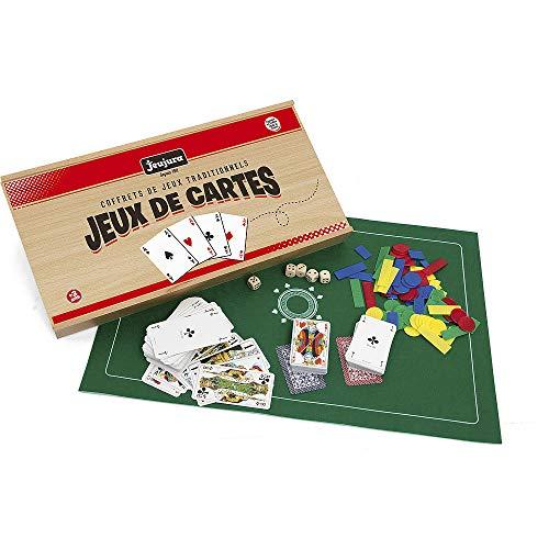 Jeujura - 8145- Jeux de Société-Coffret de Jeux de Cartes - Coffret en Bois