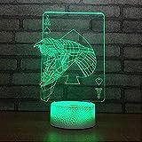 A-Generic 3D LED16 Cambios de Color Óptica Lámpara de mesilla de Noche con Smart Touch y Control Remoto Regalos para niños-Jugar a Las Cartas