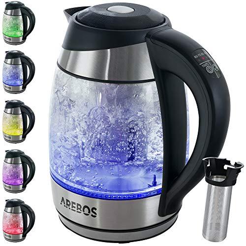 Arebos Wasserkocher 1,8 L | mit Temperaturwahl 60-100°C | Teekocher | Warmhaltefunktion und Tee-Einsatz | mit LED-Farbwechsel | BPA-Frei | 2200W | Glas und Edelstahl