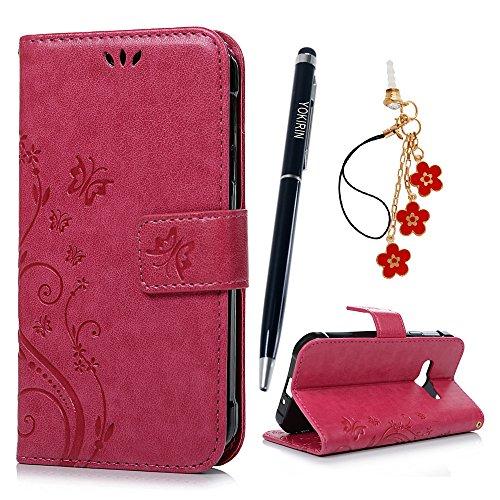 YOKIRIN Xcover 3 / G388 Wallet Case Schutzhülle für Samsung Galaxy Xcover 3 / G388 (4,5 Zoll) Schmetterling Hülle Zubehör Etui PU Leder Handytasche Bookstyle Stand Kartenfächer Magnet Case Rose Rot