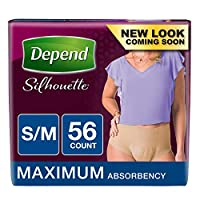 Depend Silhouette Incontinence Briefs for Women, Maximum Absorbency, S/M, 56 Count by Depend