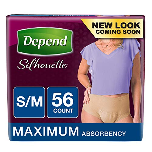 Depend Silhouette Incontinence Underwear for Women, Maximum Absorbency, Disposable, S/M, Beige, 56 Count (Packaging May Vary)