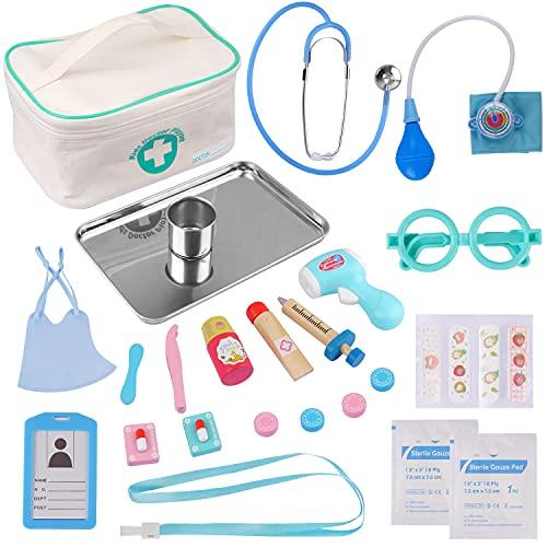 EFO SHM Malette Docteur Enfant - Avec stéthoscope, seringue, Thermomètre infrarouge et beaucoup d'autres accessoires en Bois, Jouet d'Imitation dès 3 Ans