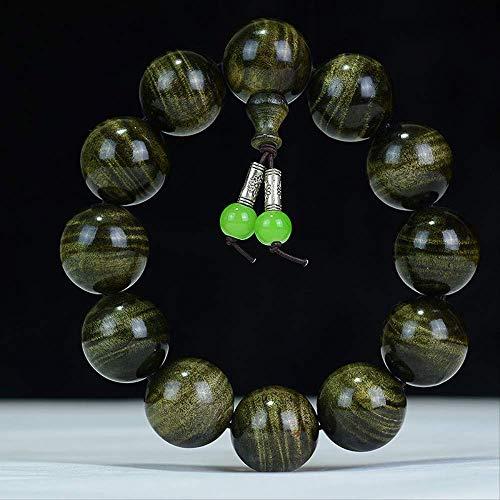 CLEARNICE Pulseras De Elasticidad De Madera Natural De Alcanfor Dorado, Pulsera De Cuentas, Amuleto De Cadena De Mano, Joyería, Amuleto Unisex, 20Mm X 12 Cápsulas
