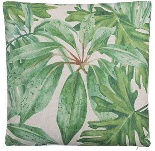 Brandsseller bladeren kussen decokussen tropische planten sofakussen sierkussen linnenlook - met vulling - ca. 45 x 45 cm.