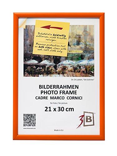 3-B Bilderrahmen ULM 21x30 cm - orange - Holzrahmen, Fotorahmen, Portraitrahmen mit Plexiglas