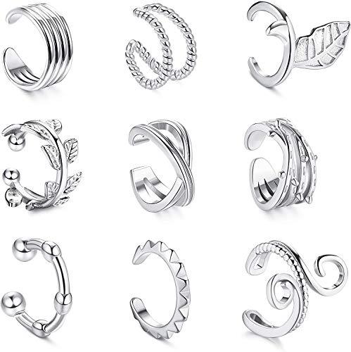 Milacolato - 9 piezas Clips de Oreja para Mujer Aro Pequeños Ear Cuff Clip Falso Pendientes Helix Puños Cartílago Aretes Hipoalergénicos Falsos Oreja Plata Pendientes Sin Agujero Mujer