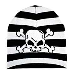 Black and white striped beanie. Flat knit beanie with white printed skull and crossbones graphics.