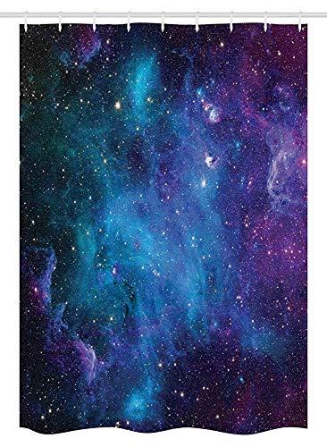 Cortina de ducha de la cabina del espacio exterior Galaxy Stars in Space Planetas astronómicos celestiales en el universo Vía Láctea Tela Decoración de baño con ganchosTenda da esterno per box doccia