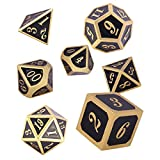 Schleuder Juego de Dados, Dados de Dungeons and Dragons Metálicos Poliédricos, Dados para Dungeons & Dragons, para Juegos de rol DND, con Caja Metálica (Imitation Gold - Royal Blue)