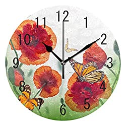 ALAZA Home Decor Red Poppy Flower Butterfly Round Acrylic 9.5 Inch Wall Clock Non Ticking Silent Clock Art for Living Room Kitchen Bedroom