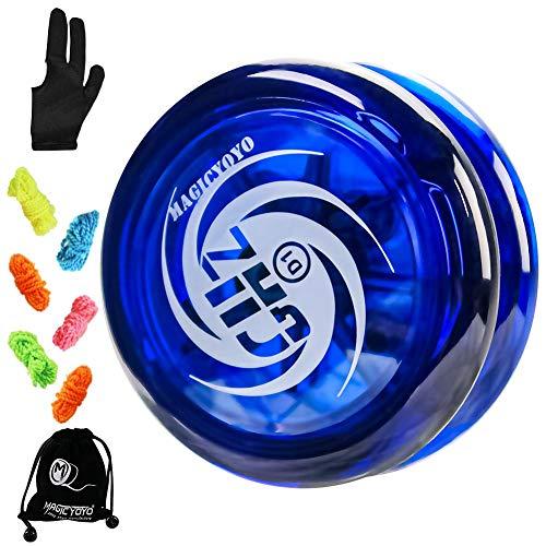 YOSTAR Magic Yoyo Looping JoJo für Kinder D1 GHZ, Responsive JoJo für Anfänger, einfach zu Spielen und grundlegende Looping-Tricks zu üben, mit 6 Yoyo-Saiten, Yo-Yo-Handschuh, Yo Yo-Tasche (Blau)