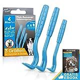 BluePet® 3X Crochets enlever de tiques - Pince à tiques pour Chiens, Chats, Cheval, Humain et Autres Animaux - Tire Tic
