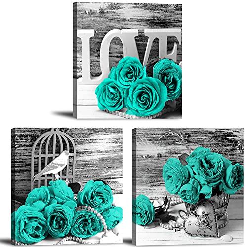 """Impressão em tela emoldurada com decoração floral de parede azul margarida arte de parede arte de parede preto branco azul-petróleo flores pastorais pintura imagens pôsteres natureza ainda vida arte moderna casa sala de estar conjunto de 4 peças 12 x 12 polegadas, Teal Rose, 12x12"""" 3 Pieces, 2"""