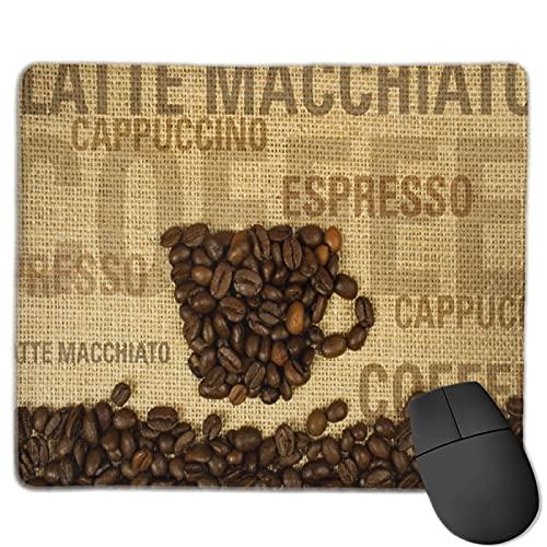 Dekoratives Gaming-Mauspad,Kaffeebohnen geformte Tasse und Kaffeetypen B,Bürocomputer-Mausmatte mit rutschfester Gummibasis