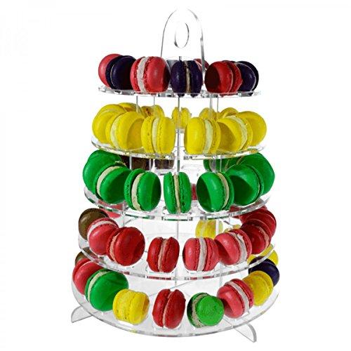 Avà srl Présentoir à Macarons en Acrylique Transparent à 5 étages (70 Macarons) - Dimensions : 35x35 x H41 cm